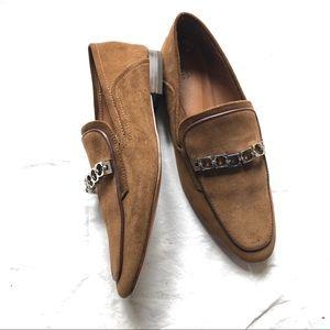 New Zara brown leather loafers sz 6